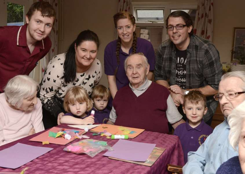 Children from Stepping Stones Nursery join residents at Kings Court Nursing Home for craft sessions.