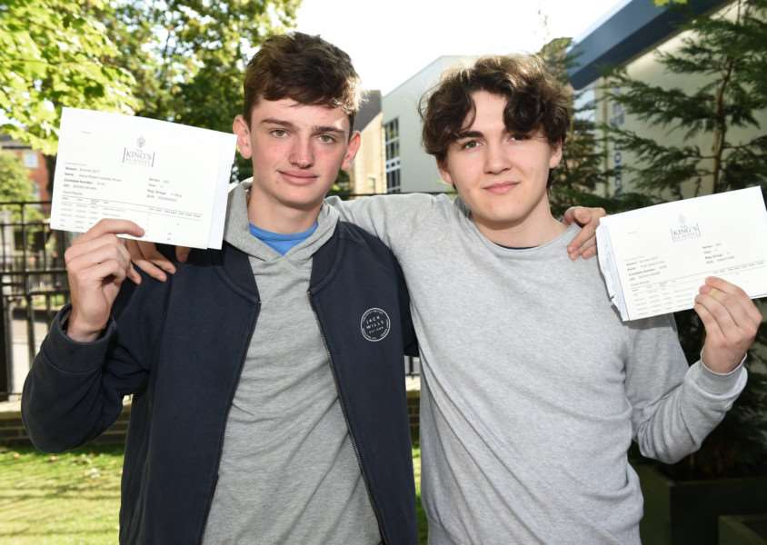 GCSEs results day, King's School: Henry Wood and Felix Cross