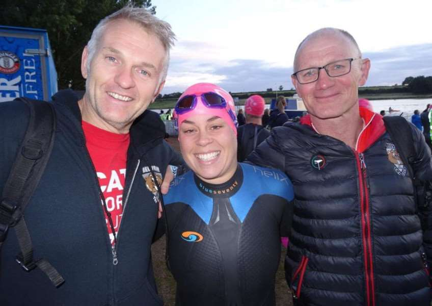 Belvoir Tri Club relay team - Blake Hutchinson, Catherine Davies and Ove Andresen.