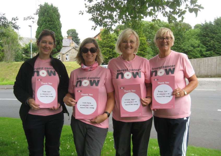 Breast Cancer Now fund-raisers, from left, Rachel Deans, Louise Pulfrey, Christine Diggins and Barbara Green, after their walk on Hadrian's Wall. kYc4PXsGLcMGowv_NiLM