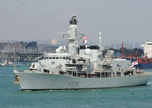 HMS Richmond leaving Portsmouth for deployment to the Middle East in March