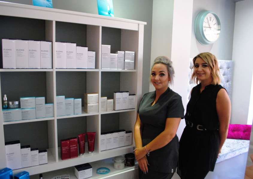 Prestige Beauty Salon owner Louise Lappin and salon manager Laura Widdowson with their Elemis products.
