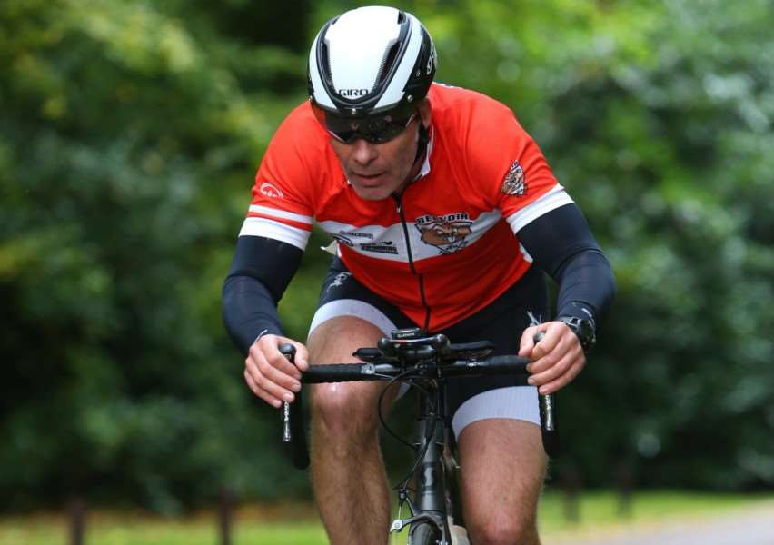 Kevin Gench on the bike leg of the Clumber Duathlon. Photo: David Hawkin