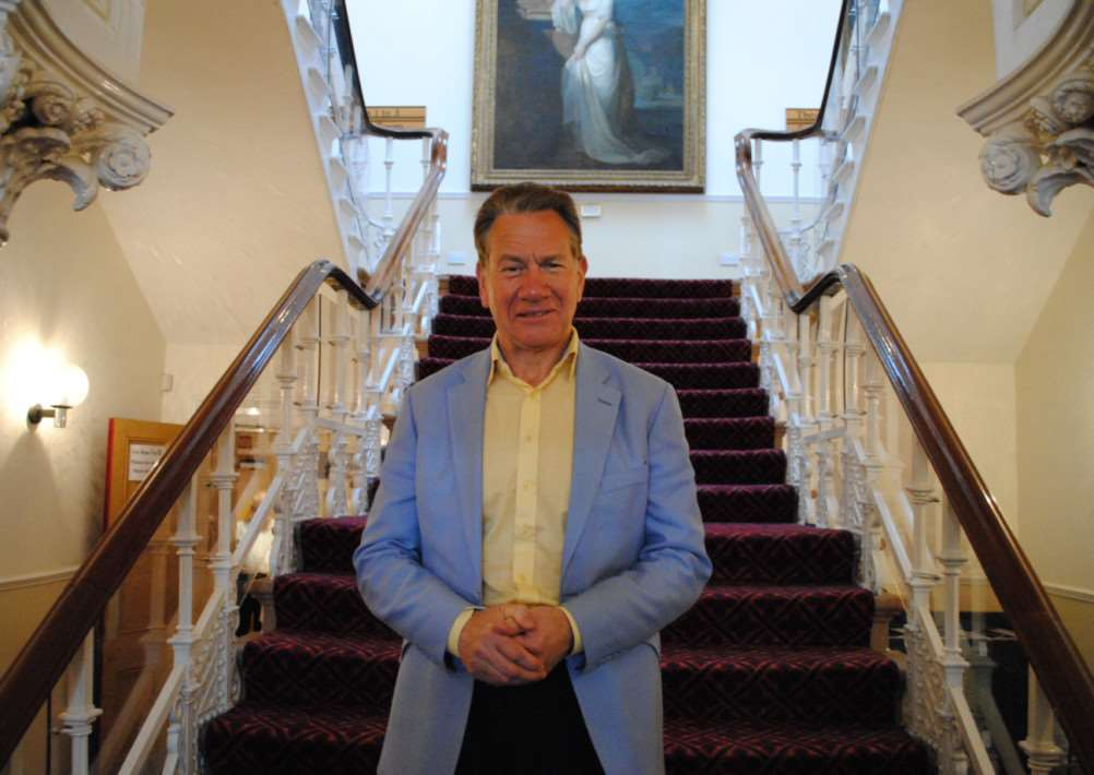 Michael Portillo on the staircase in the Guildhall before his Grantham show. Photo: 0316A