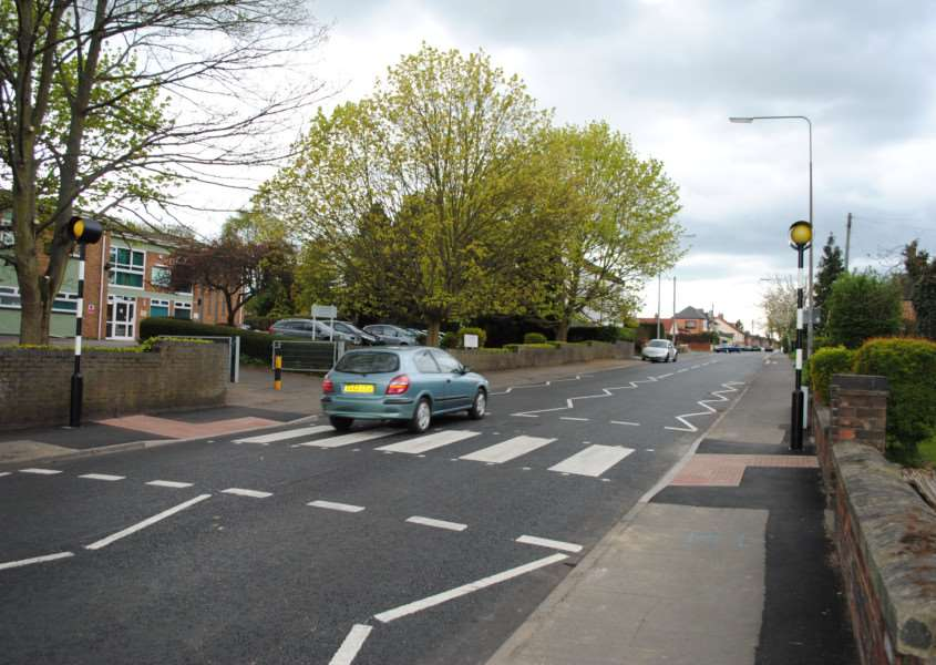 The new zebra crossing on Dysart Road near Isaac Newton Primary School.