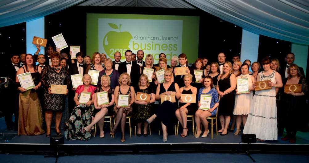 The winners and runners-up at the Grantham Journal Business Awards 2015.