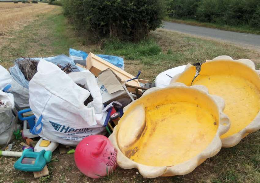 Garden and household waste dumped by Grantham man David Cant along the Aisby to Aunsby Road.