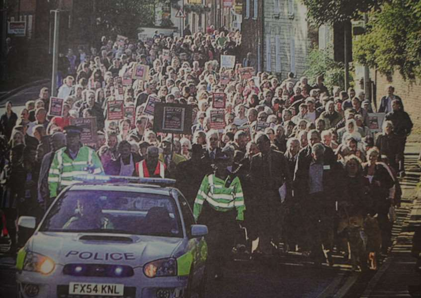 Thousands marched through town to protest against the cuts to Grantham Hospital in October 2005.