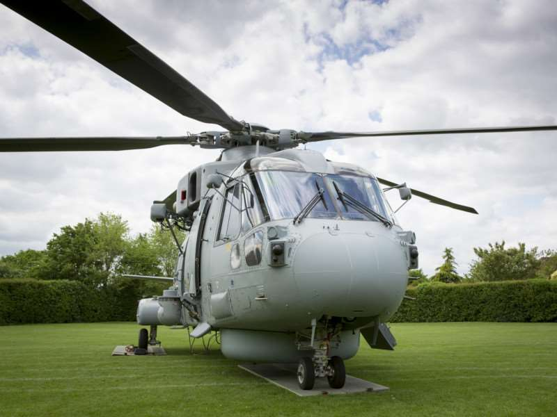 Royal Navy Merlin at Long Bennington School