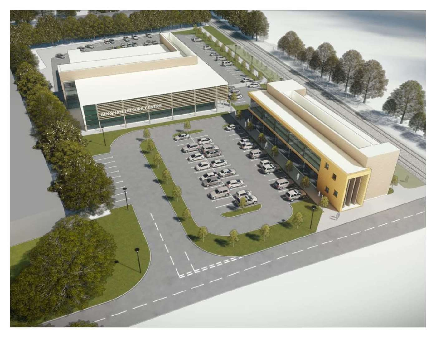 An artist's impression of the potential leisure centre and office site on Chapel Lane in Bingham (7150026)