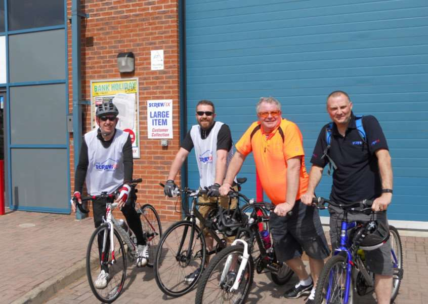 Participants in the 'Tour de Screwfix' in Grantham, from left, Darren Whiten, Andy Witcomb, Philip Bacon and Andrew Tiplady.