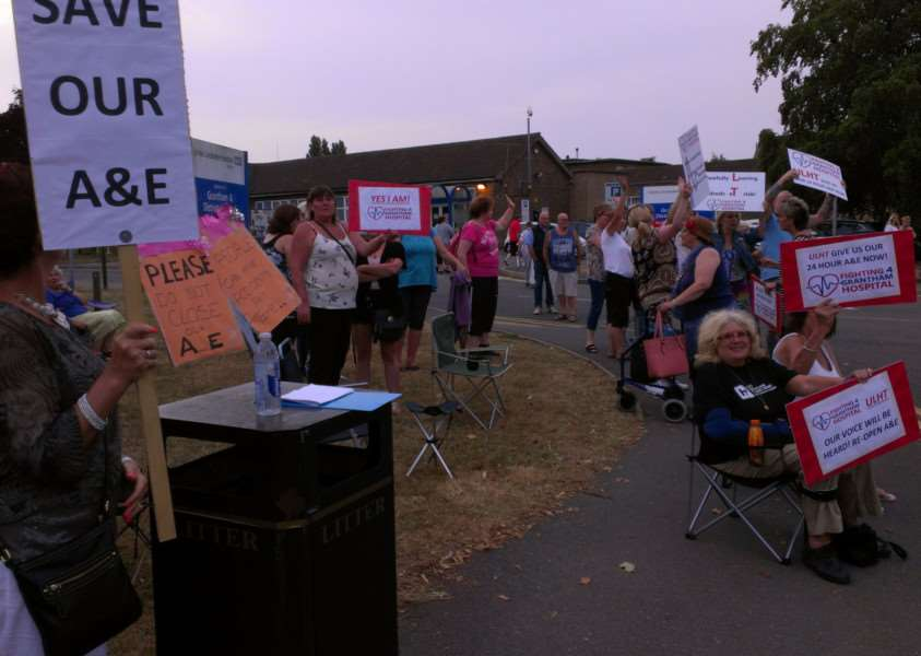 The evening vigil held by people outside Grantham Hospital in protest at the partial closure of the A&E department.