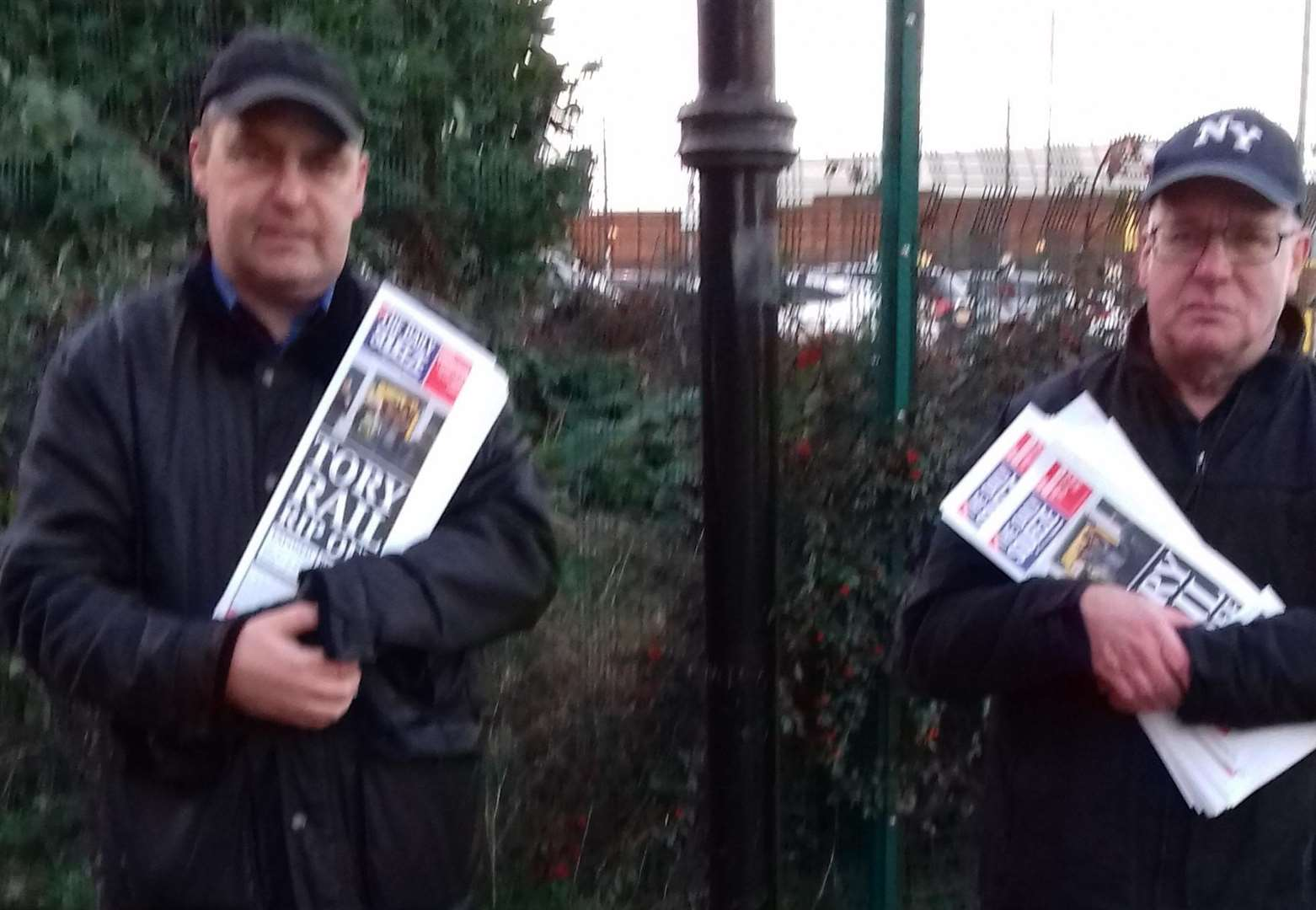 Protesters voice their anger at rail fare rise at Grantham Station
