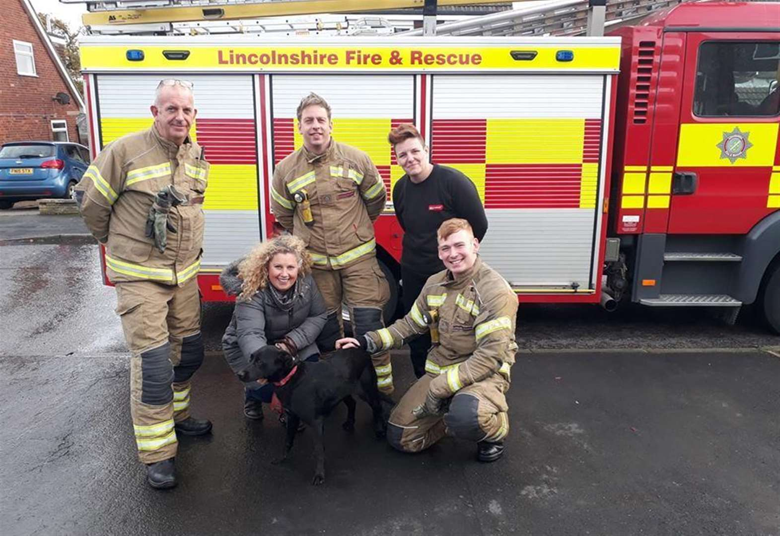 Grantham firefighters rescue pet dog stuck between wall and garage for two days