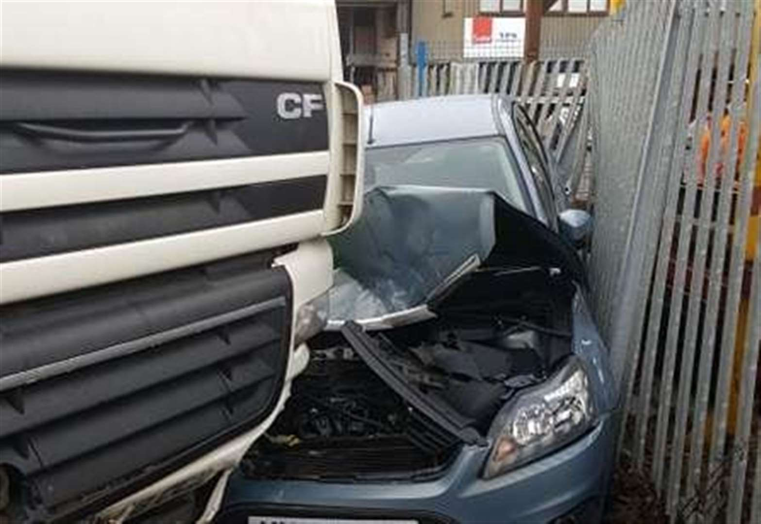 Lorry swerves off Grantham road through brick wall and wrecks car