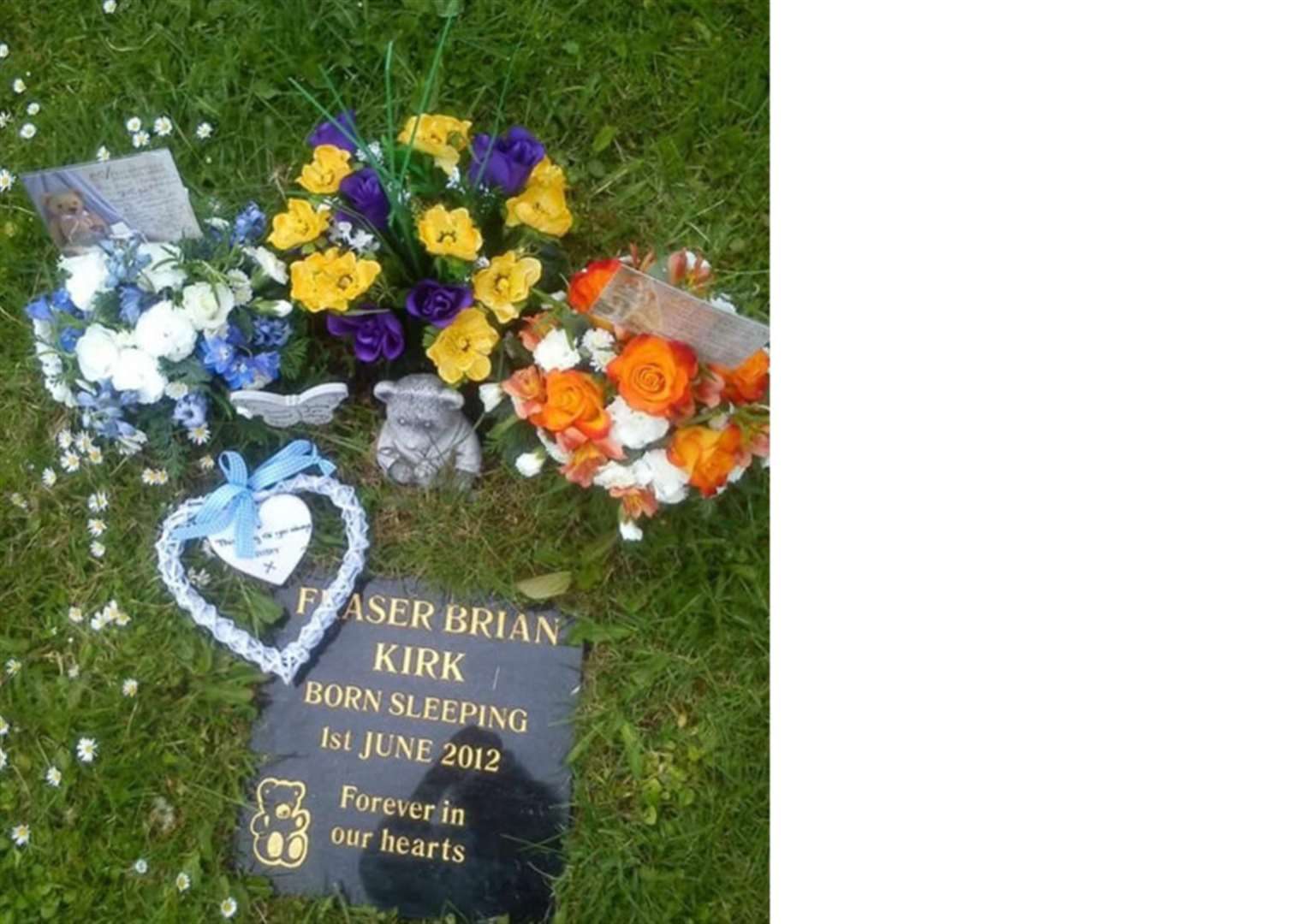Stone teddy bear from stillborn baby's grave is among items stolen from Great Gonerby churchyard