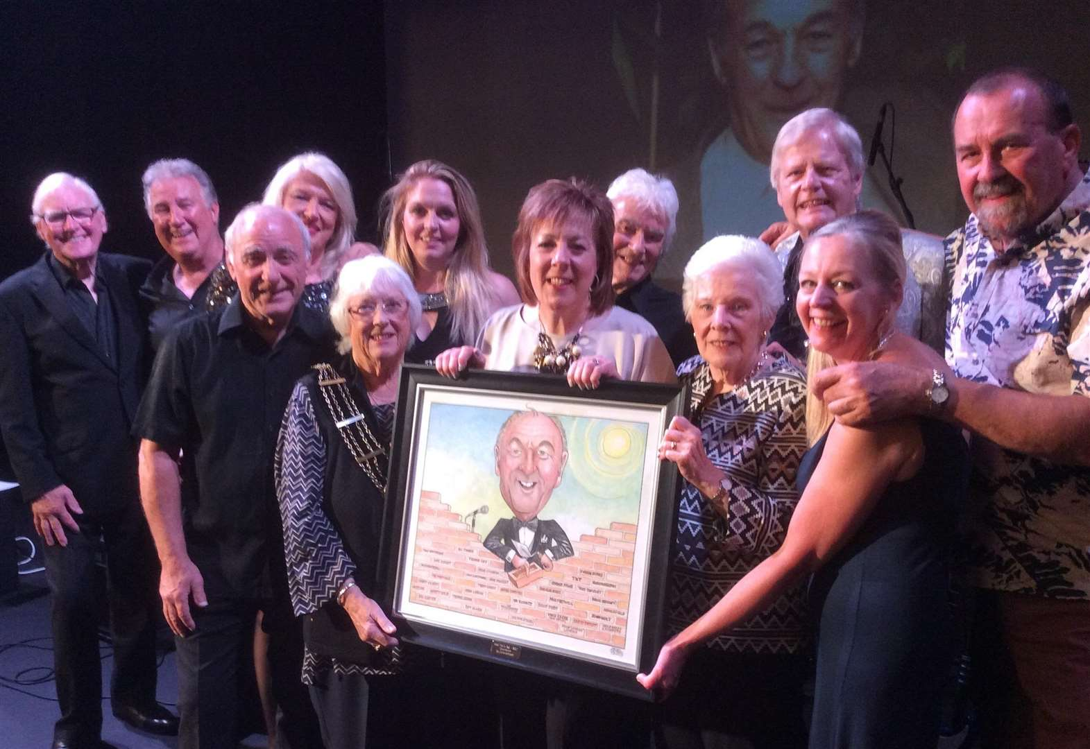 Caricature presented for Grantham's much loved music show promoter Noel Wallis