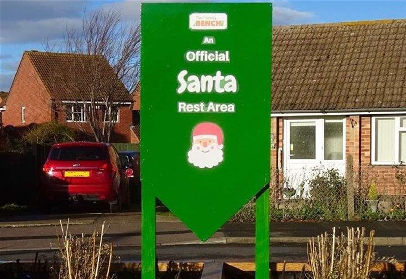 Santa is offered a place to rest at Bottesford's Friendly Bench
