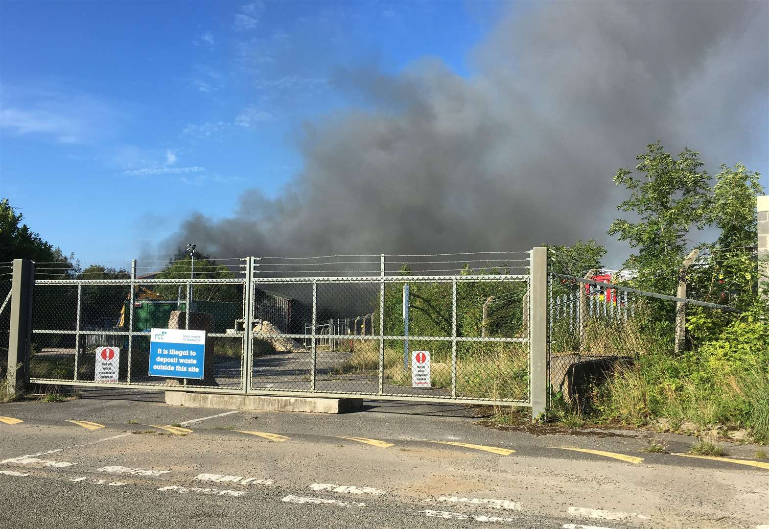 Six fire crews tackle blaze at old recycling depot