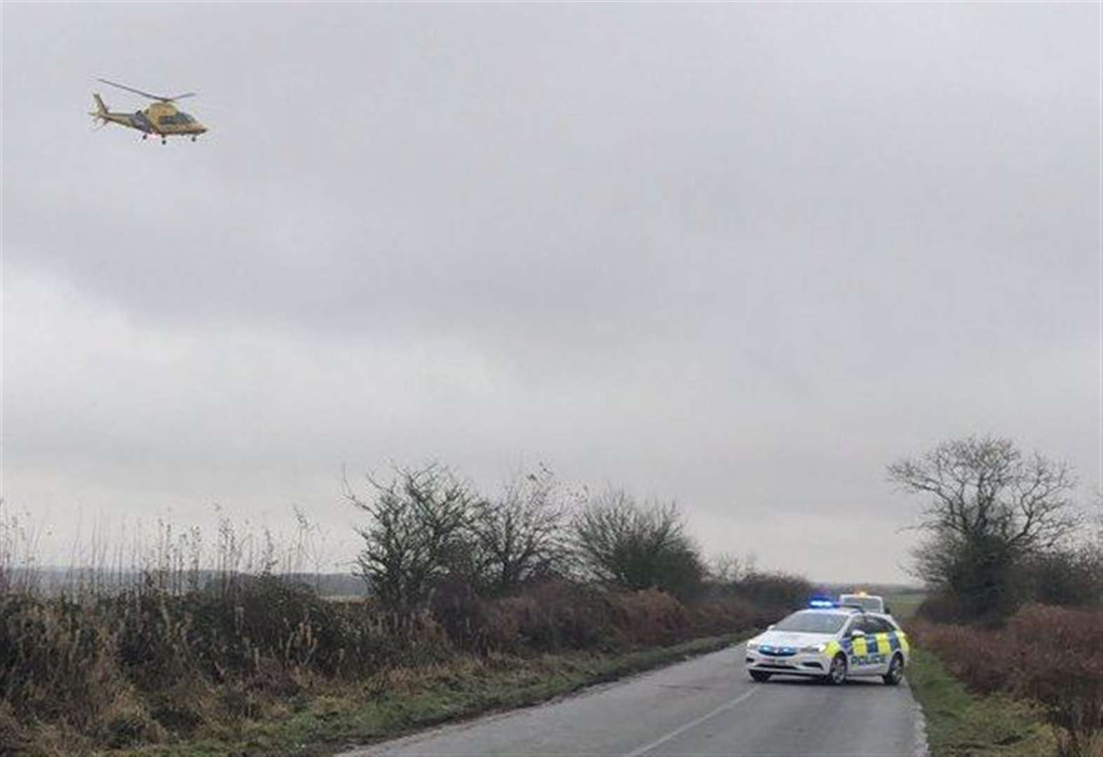 Air ambulance attends 'head-on' collision near Grantham