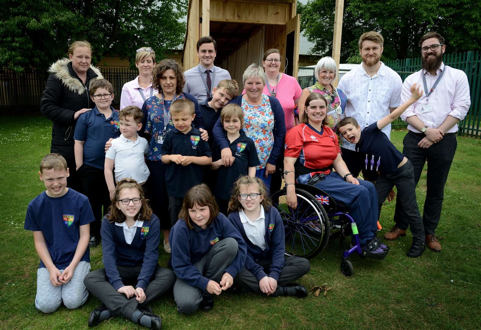 Olympic star unveils archery booth at Grantham school