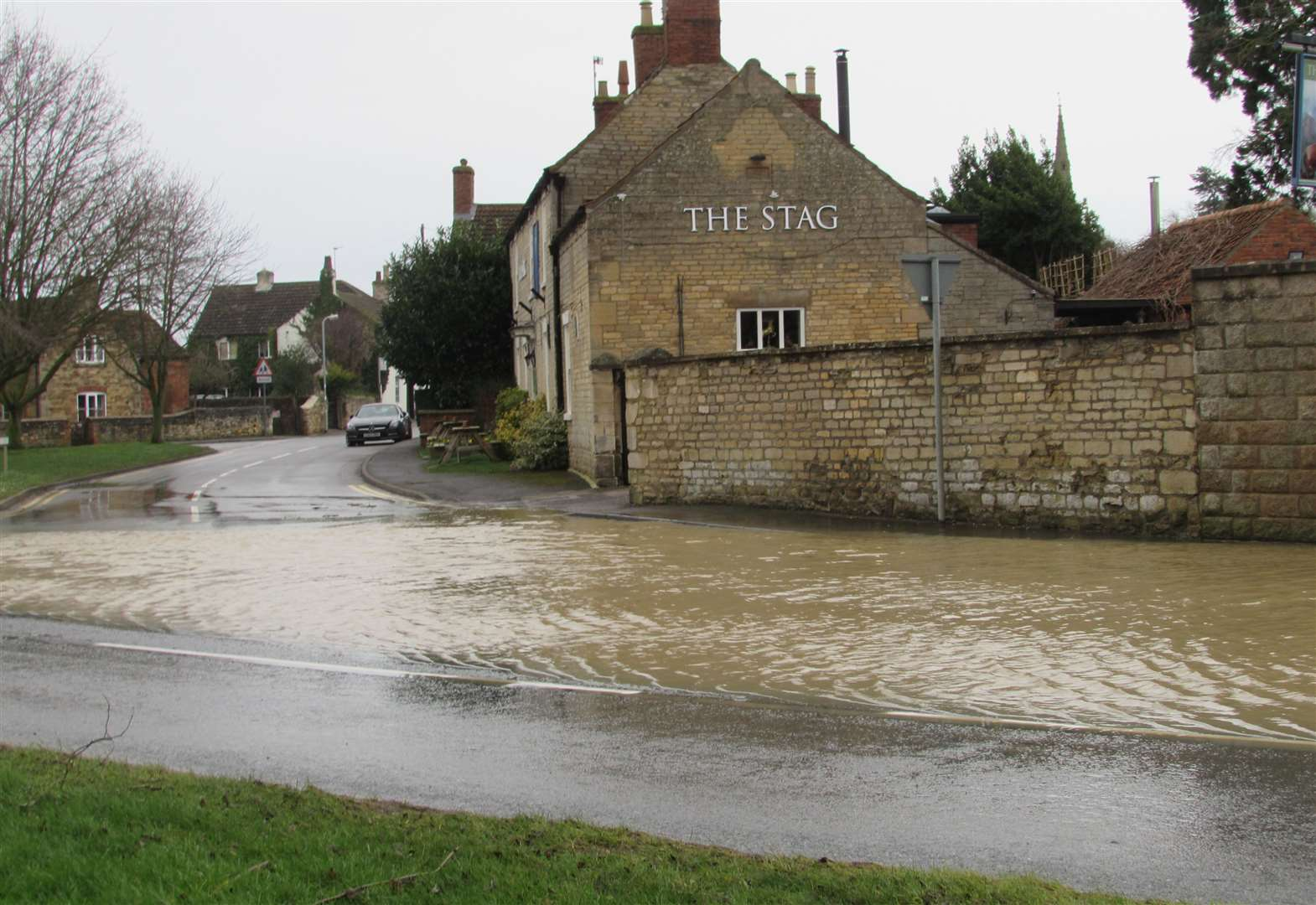 Storm Dennis turns Barkston road into a lake