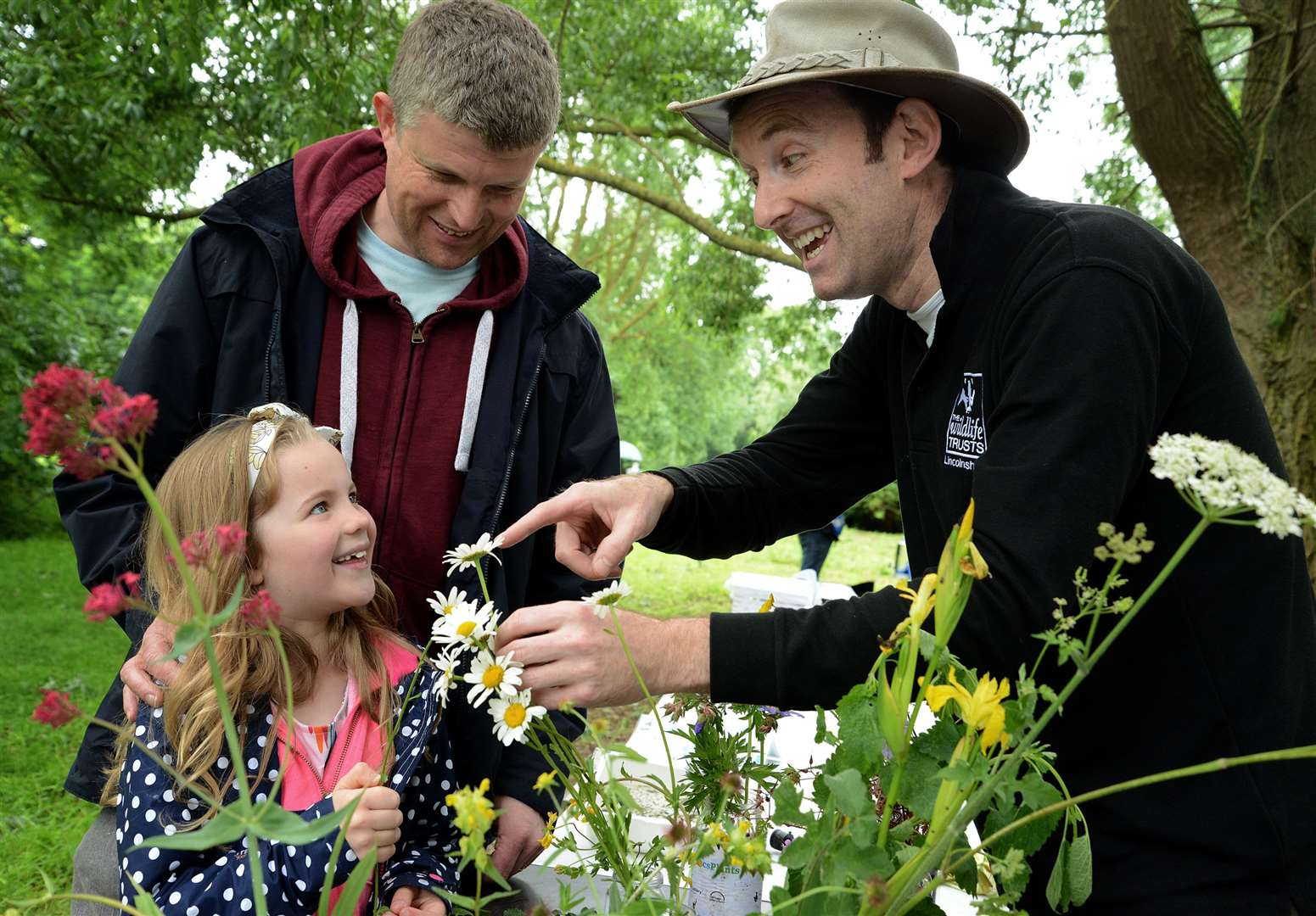 Craig and Emily Burton at Queen Elizabeth Park with Mark Schofield, of Lincolnshire Wildlife trust. (12687236)