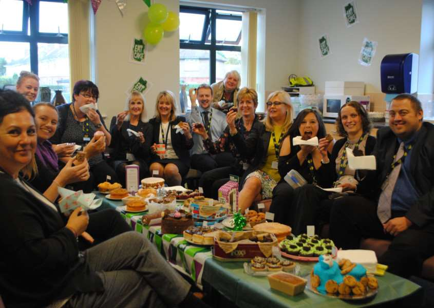 Staff at St Hugh's tucked into an impressive selection of cakes on Friday.