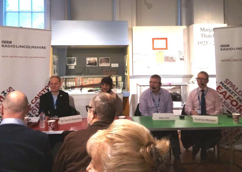 The panel at the BBC Radio Lincolnshire health debate in Grantham. From left Dr Suneil Kapadia, Dr Vindi Bhandal, Allan Kitt and Andrew Morgan.