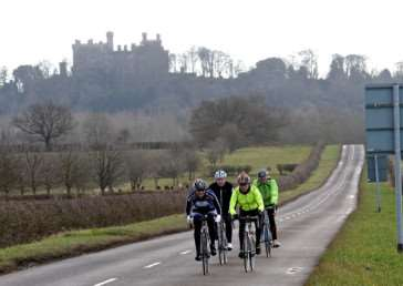 A small group of Wheelers in the shadow of Belvoir Castle on Sunday. Photo: Alan East