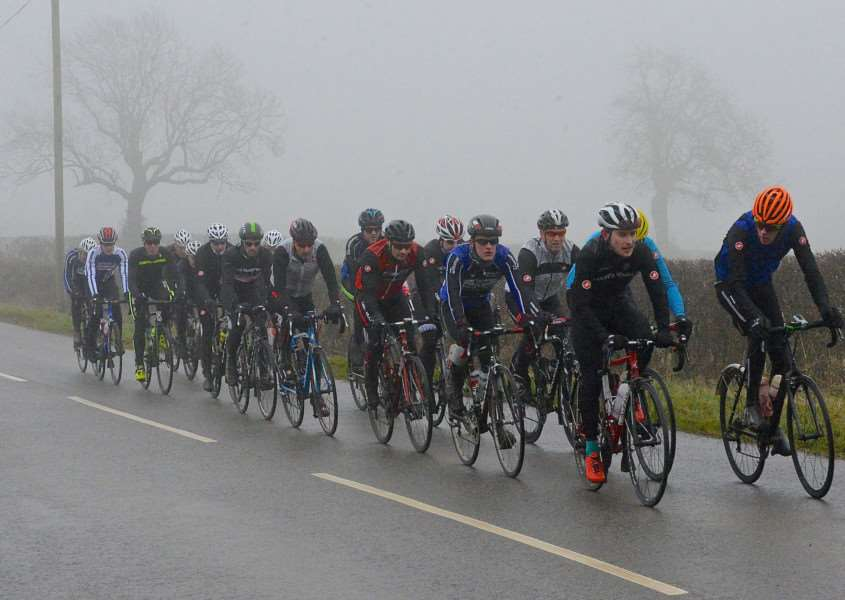 Pea souper: Witham Wheelers emerge from the mists on Sunday. Photo: Alan East