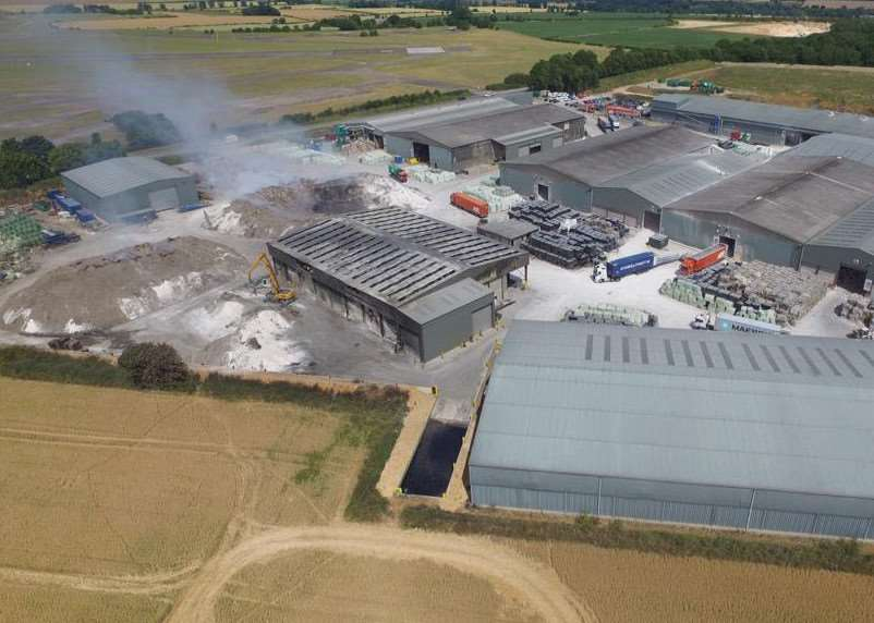 Aerial shot shows smoke continuing to rise from Mid UK.Photo: Michael Keng of Kurina Aerial Photography