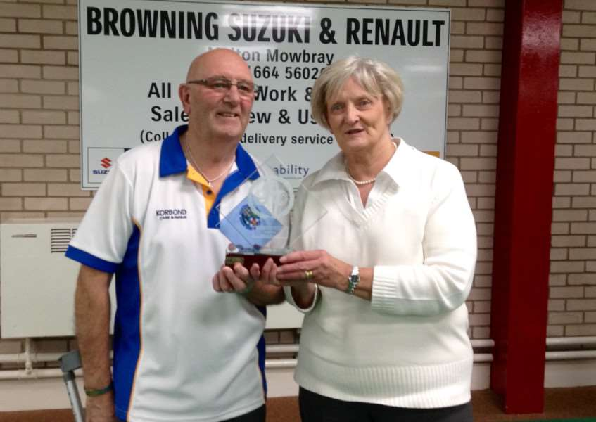 Pictured are the Grantham Indoor Bowls Club's Browning Suzuki winners Mr M. LeHair and Joan Cullen.