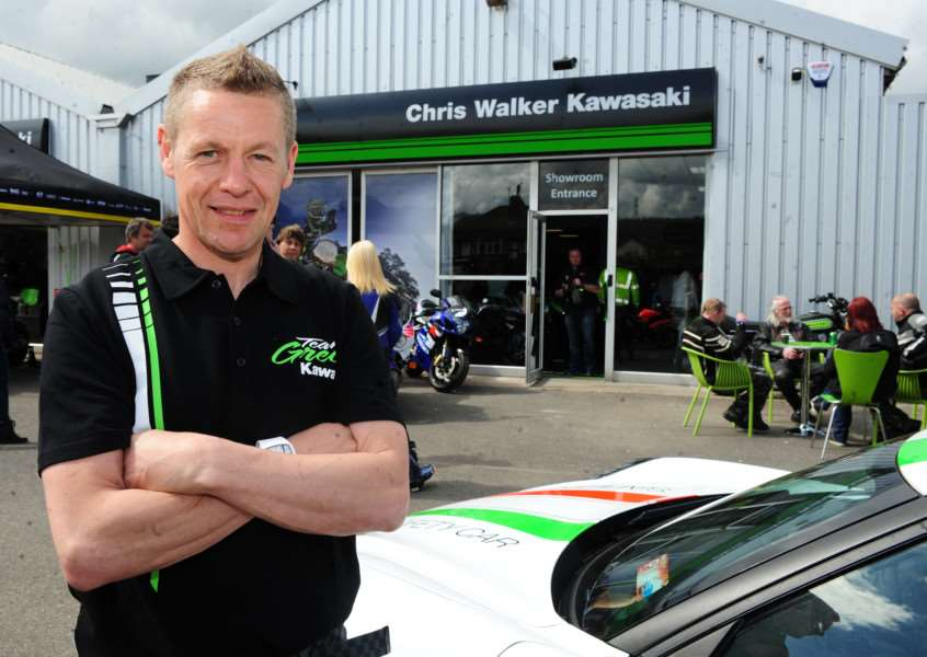Chris Walker outside his new Kawasaki dealership on Harlaxton Road.