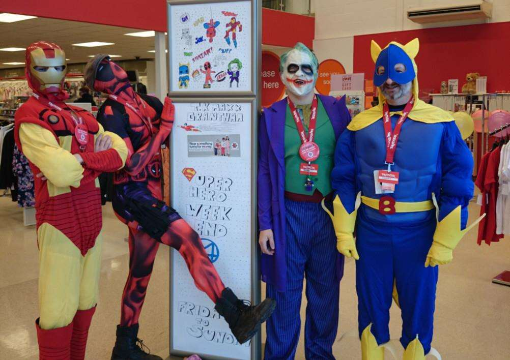 Staff dress as superheroes at TK Maxx in Grantham to raise money for Comic Relief.