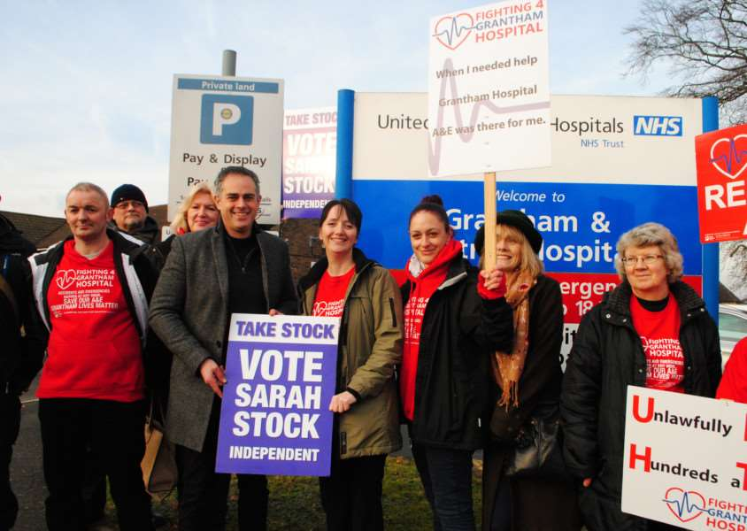 Co-Leader of the Green Party for England and Wales Jonathan Bartley, second from left, met Independent candidate Sarah Stock, third from left, and supporters outside Grantham Hospital.
