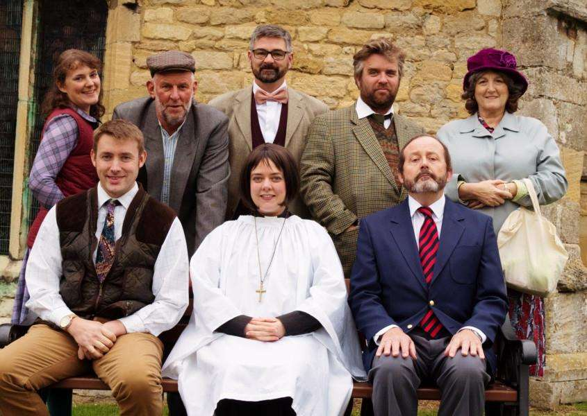 The cast of Grantham Dramatic Society's Vicar of Dibley.