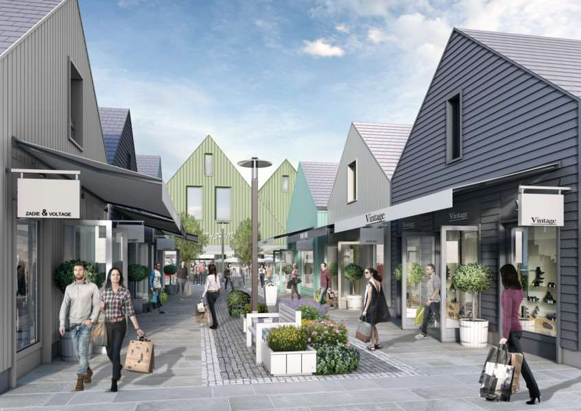 An artist's impression of the Grantham Designer Outlet Village proposed by Buckminster.