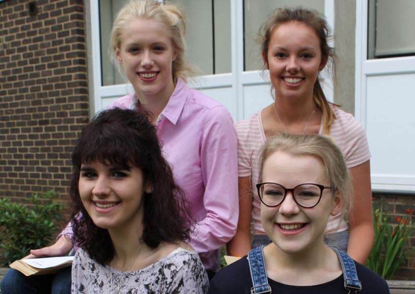A-level results success for Walton Girls - Top left Lucy Thompson , top right Erin Robertson, bottom left Abigail Folmer , bottom right Poppy Little.