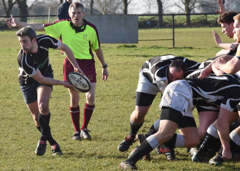 Kesteven's Adam Draper wins the ball from the scrum. Photo: Toby Roberts