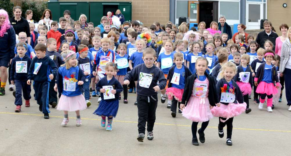 Pupils at St Sebastian's Church of England Primary School in Great Gonerby take part in the Race for Life event.