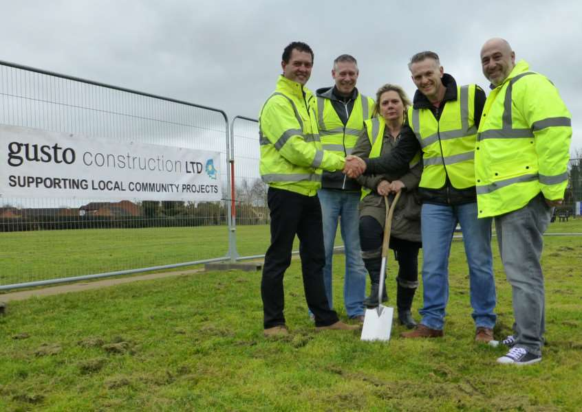 From left - Steff Wright Gusto Construction, Steve and Sallie Cook of the Memorial Hall committee, chairman of Great Gonerby Parish Council Blake Hutchinson and Nigel Ward of Gusto Construction.