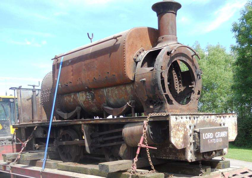 The Lord Granby locomotive which worked in the iron ore industry at Eastwell pictured here at it arrived back at the workshop for a restoration project EMN-160727-195830001