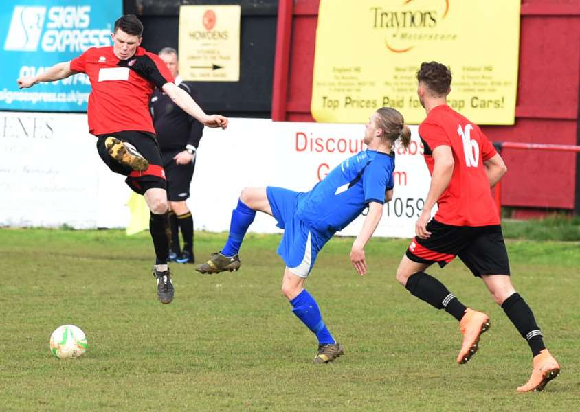 Action from Harrowby United and Cogenhoe United's 1-1 draw at home on Saturday. Photo: Toby Roberts