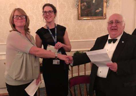 Master WBro Andrew Black, of the Sir Isaac Newton Lodge, presents a cheque for �750 to Janie McCormick and Dr Kat Collett, of St Barnabas Hospice.