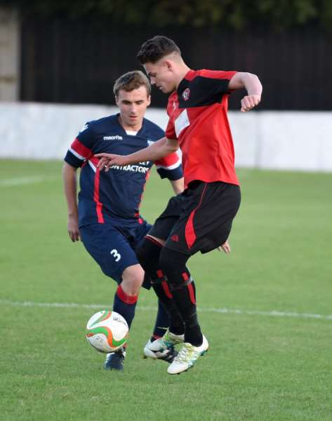 Action from Harrowby United's first league game at home to Boston Town on Tuesday night. Photo: Toby Roberts