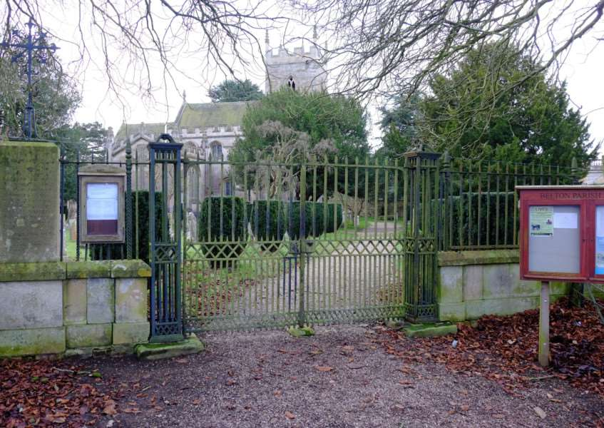 The First World War memorial gates at the church in Belton.