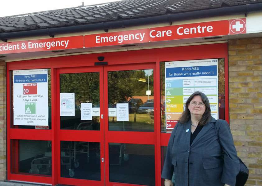 Charmaine Morgan, chair of SOS Grantham Hospital, outside the A&E unit at the hospital