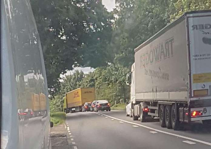 Police closed the A1 Southbound. Photo: Facebook/Shaun Dixon