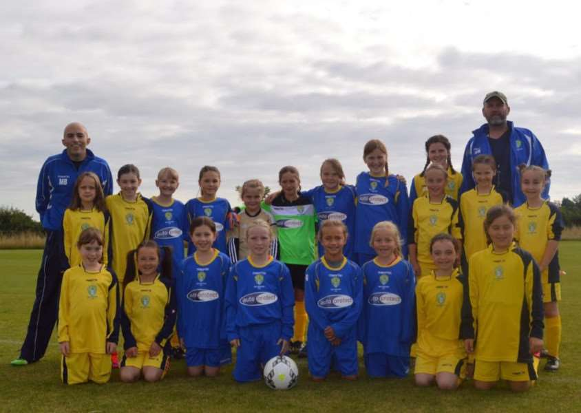 Bottesford FC girls' league teams, with the under-11s proudly sporting their kit, sponsored by AutoProtect MBI, of Harlow, Essex.